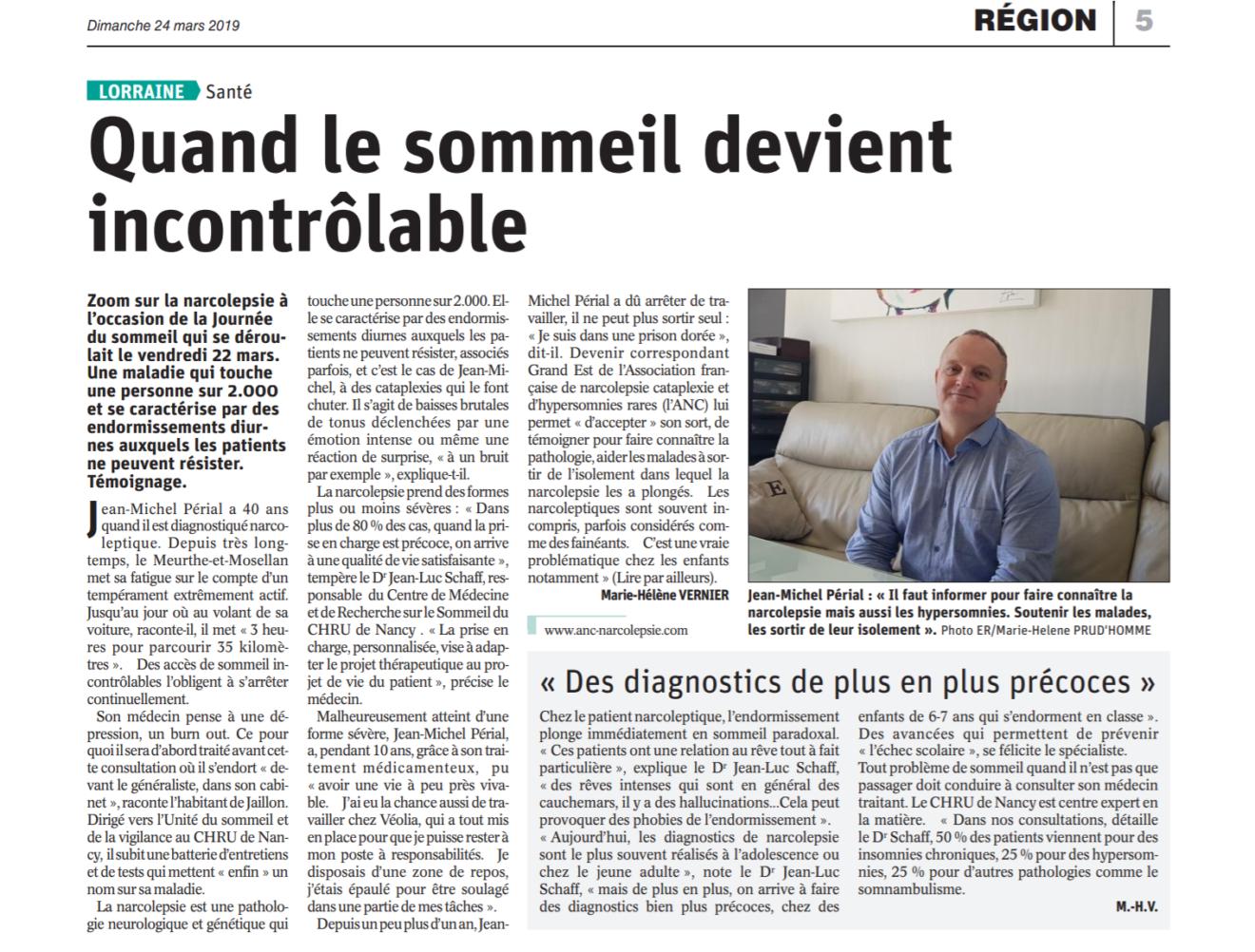 Témoignage sur le diagnostic de la narcolepsie par Jean-Michel Périal dans le journal l'Est-Républicain